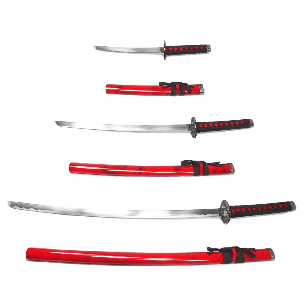 Espada Katana Ryuto Vermelha c/ Ornatos Pretos - conj. 3 pcs Tanto, Wakizashi e Daito / Decoração, Cosplay, Colecionismo