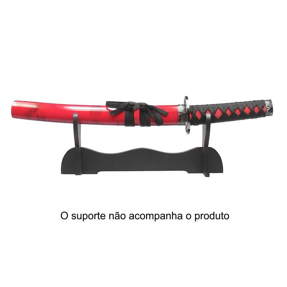 Espada Katana Tanto Ryuto Vermelha c/ Ornatos Pretos / Decoração, Cosplay, Colecionismo