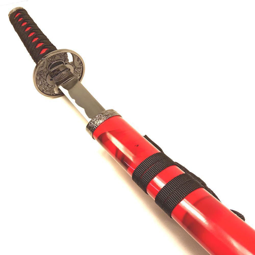 Espada Katana Wakizashi Ryuto Vermelha c/ Ornatos Pretos / Decoração, Cosplay, Colecionismo