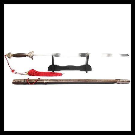 Espada Tai Chi Jian San Feng Lâmina Semi-flexível + Suporte + Capa + Lubrificante