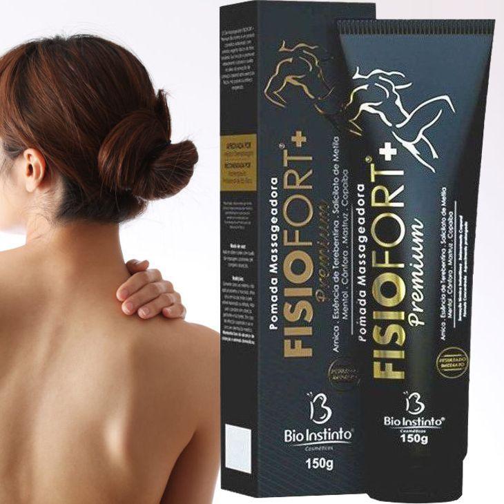 Pomada Massageadora Fisiofort +Premium Concentrada 150 g - Bio Instinto / Sensação Térmica Instantânea, Otimizador da Circulação Sanguínea, Reduz a Tensão Muscular, Alívio da Dor e Cansaço