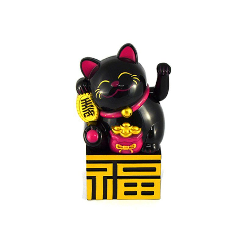 Gato da Sorte Manekineko Preto à Pilha 10 cm
