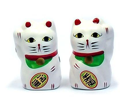 Gato da Sorte Manekineko Japonês Casal 7,5 cm / Amuleto da sorte, Colecionismo, Decoração oriental, Prosperidade, Felicidade, Fortuna