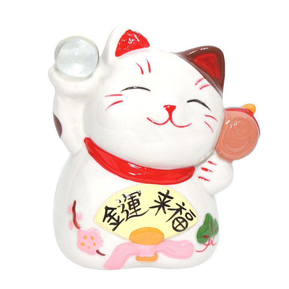Gato da Sorte Manekineko Cofre c/ Bola e Kozuti 12 cm