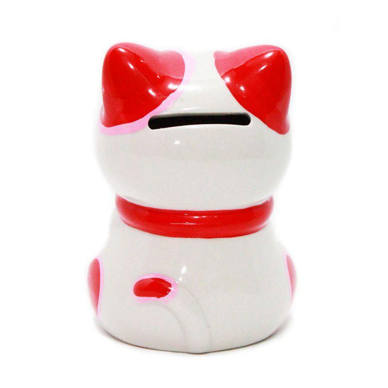 Gato da Sorte Manekineko Cofre c/ Daruma 10,5 cm