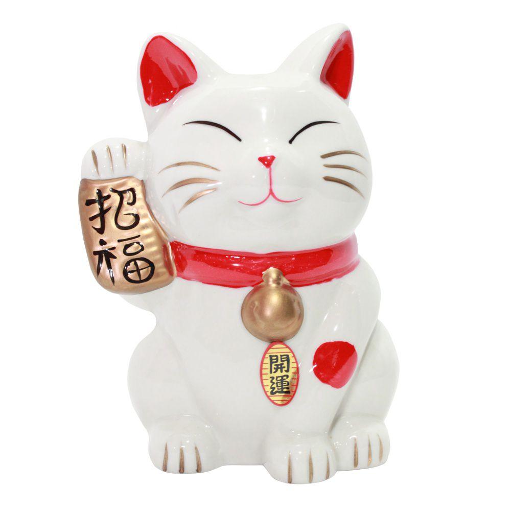 Gato da Sorte Manekineko Cofre c/ Koban 15 cm