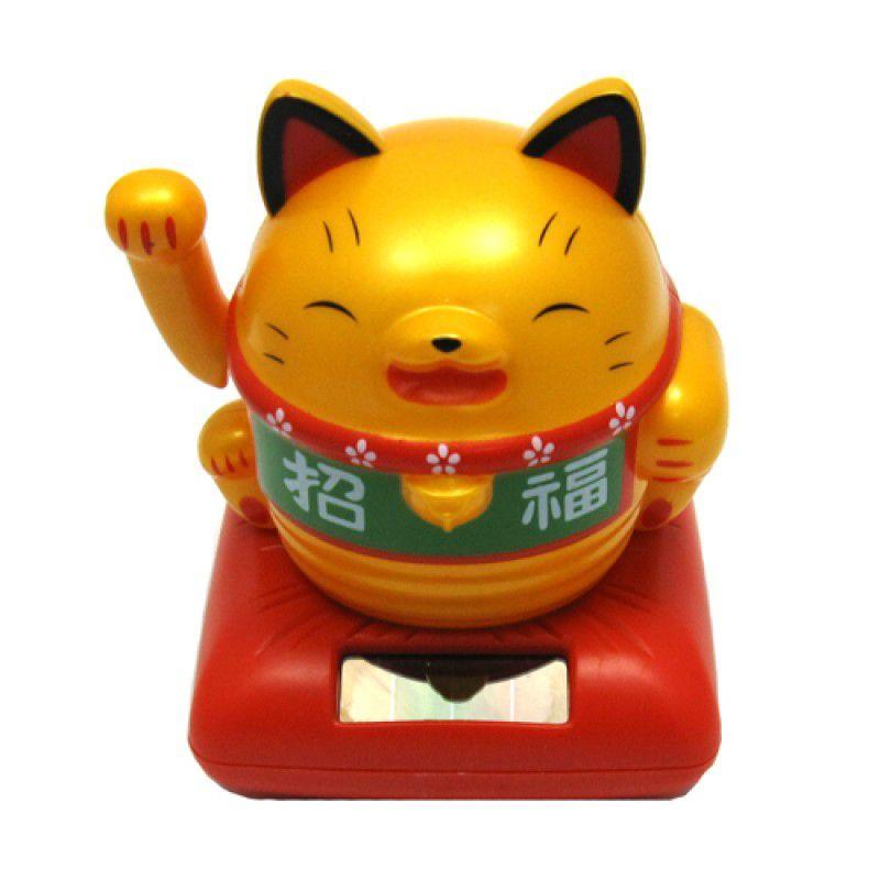Gato da Sorte Manekineko Dourado Solar 10 cm