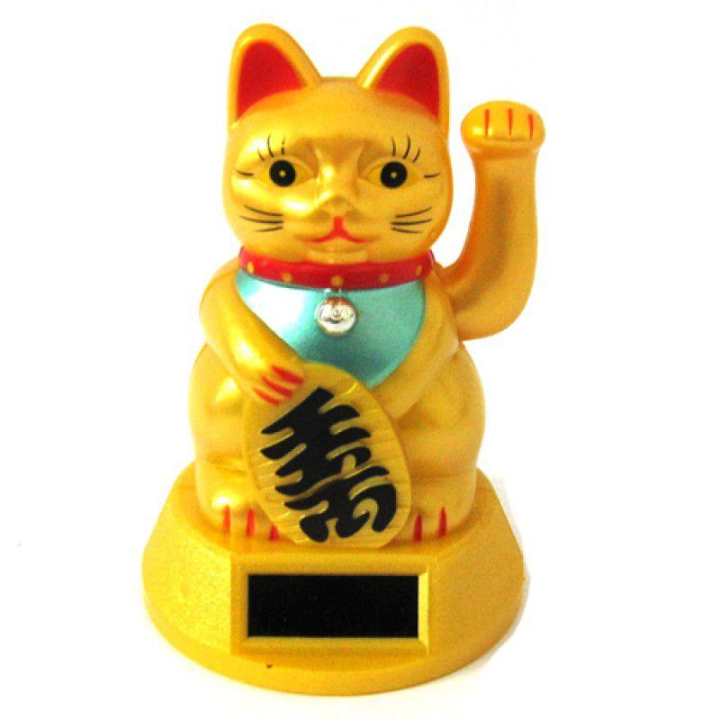 Gato da Sorte Manekineko Dourado Solar 12,5 cm