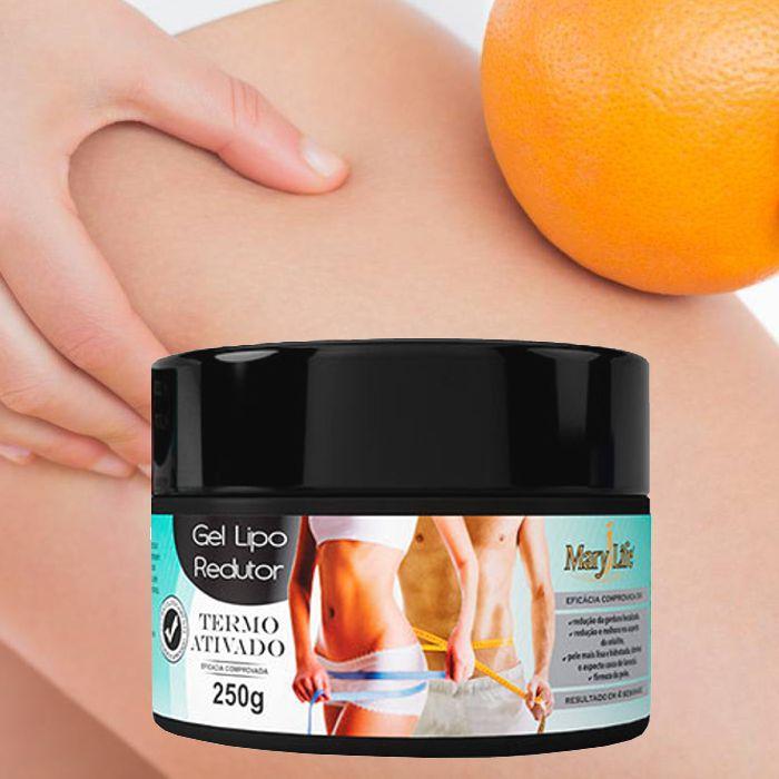 Gel Lipo Redutor Termo Ativado Mary Life Pote 250 g / A inovação no combate à gordura localizada, para afinar sua cintura e perder peso com saúde!