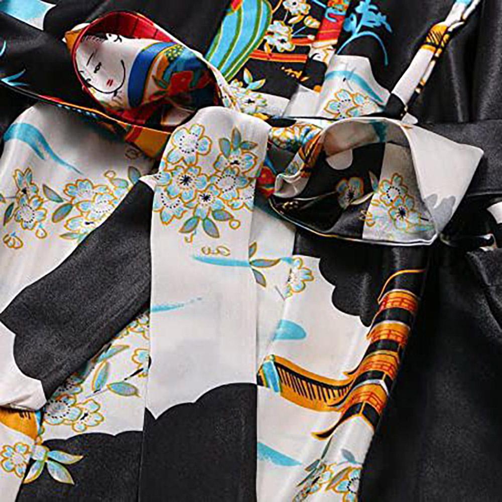 Kimono Curto Estampa de Gueixa, Cetim de Alta Qualidade Suave ao Toque, Elegante Robe Casual