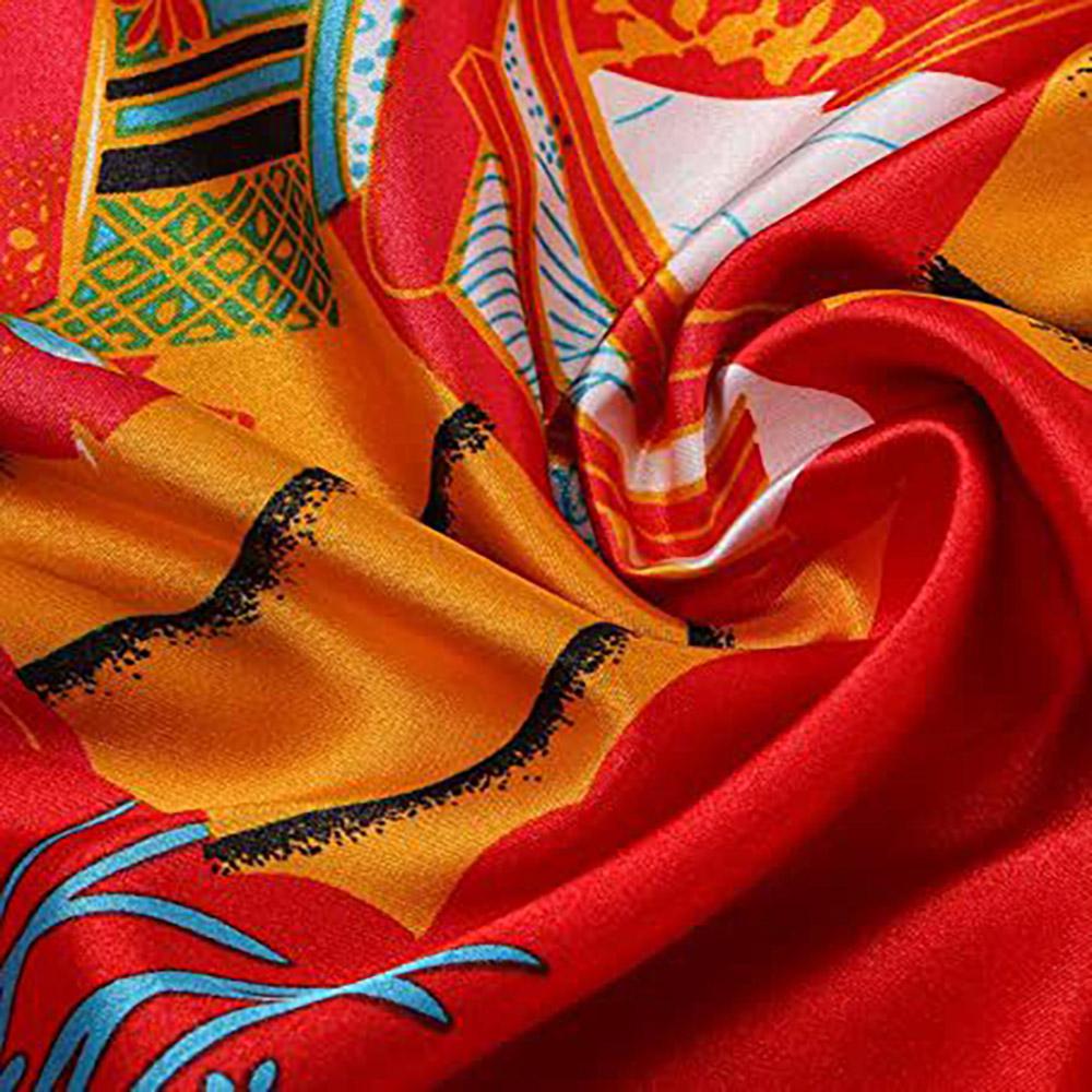 Kimono Longo Estampa de Gueixa, Cetim de Alta Qualidade Suave ao Toque, Elegante Robe Casual