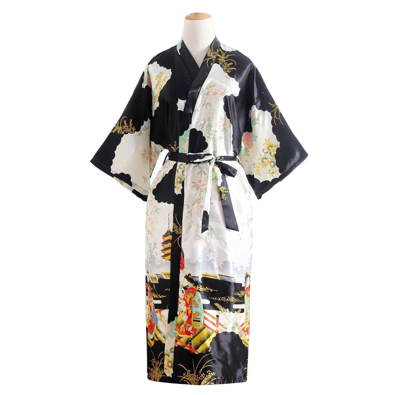 Kimono Preto Longo Estampa de Gueixa, Cetim de Alta Qualidade Suave ao Toque, Elegante Robe Casual