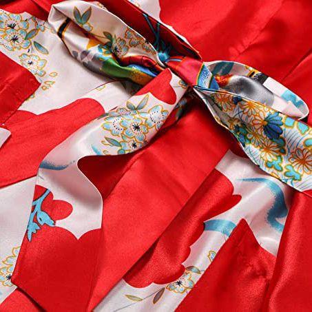 Kimono Vermelho Longo Estampa de Gueixa, Cetim de Alta Qualidade Suave ao Toque, Elegante Robe Casual