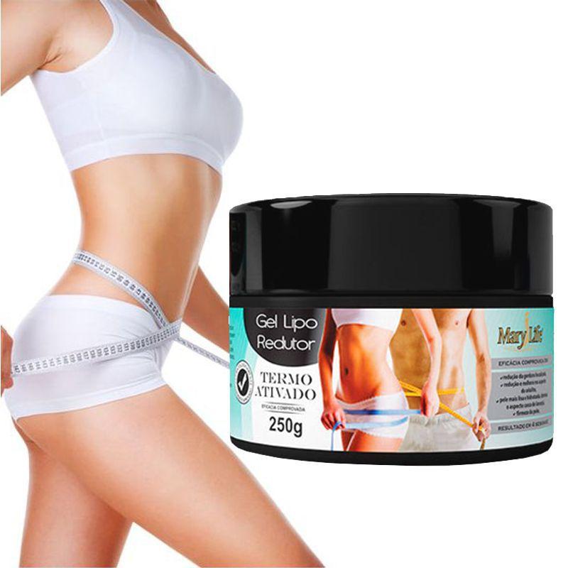 KIt 3 unid.Gel Lipo Redutor Termo Ativado Mary Life Pote 250 g / A inovação no combate à gordura localizada p/ afinar a cintura e perder peso c/ saúde