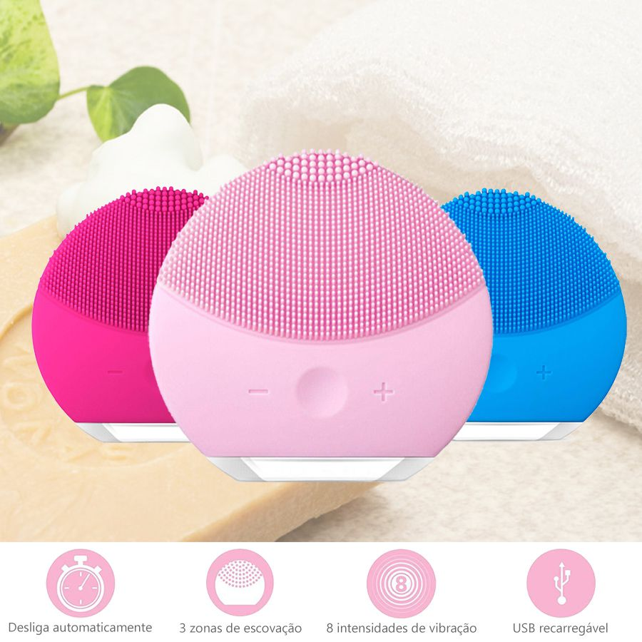 Kit Escova Elétrica Massageadora Limpeza Facial Pink + Massageador Orbital 110v Alta rotação / Alivia dores, Relaxa músculos, Reduz Abdômen, Drenagem Linfática, Perca peso c/ Saúde