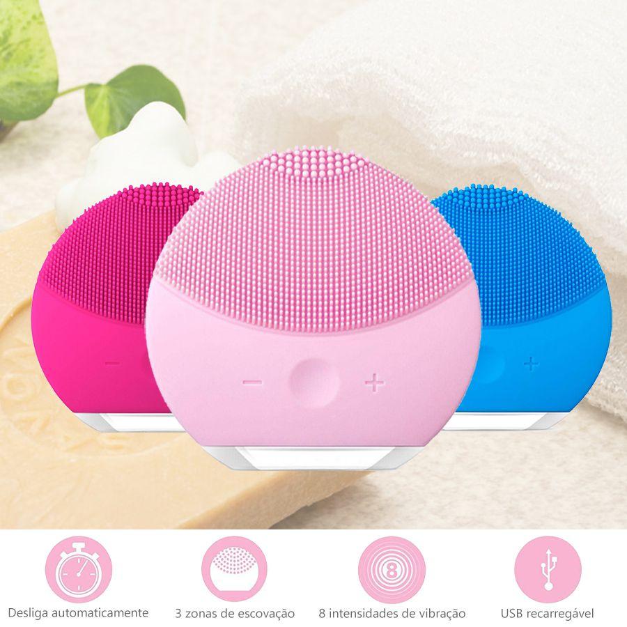 Kit Escova Elétrica Massageadora Limpeza Facial Pink + Massageador Terapêutico Magic Wand Rosa 26 cm Bivolt, 12 vibrações, Alta Frequência, Varinha Mágica / Alivia dores e músculos