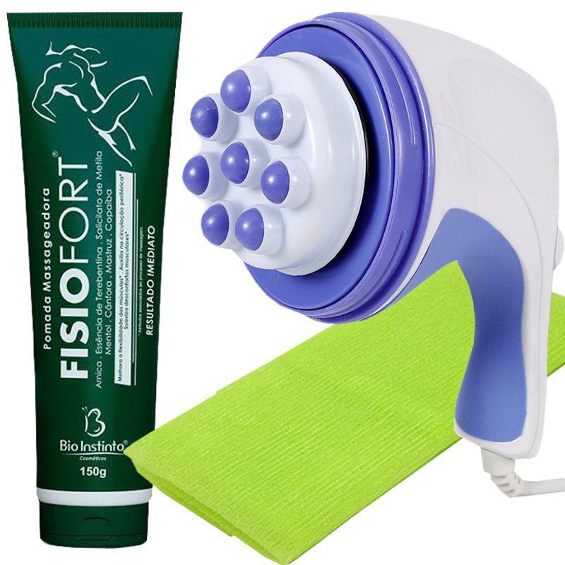 Kit Massageador Orbital 110v + Toalha de Banho Verde + Fisiofort