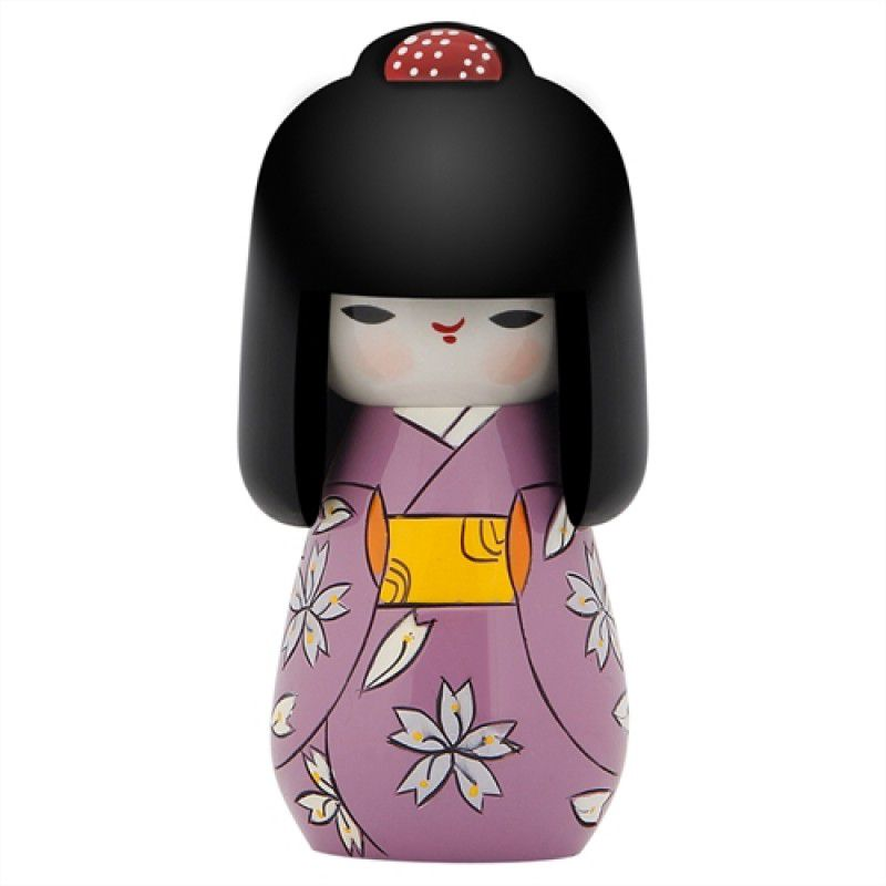 Kokeshi Cabelo Comprido Kimono Lilás 11 cm