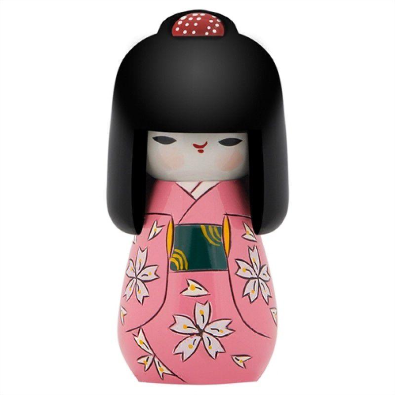 Kokeshi Cabelo Comprido Kimono Rosa 11  cm