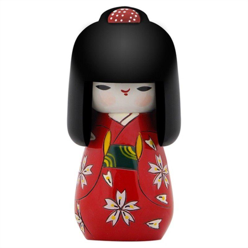 Kokeshi Cabelo Comprido Kimono Vermelho 11 cm