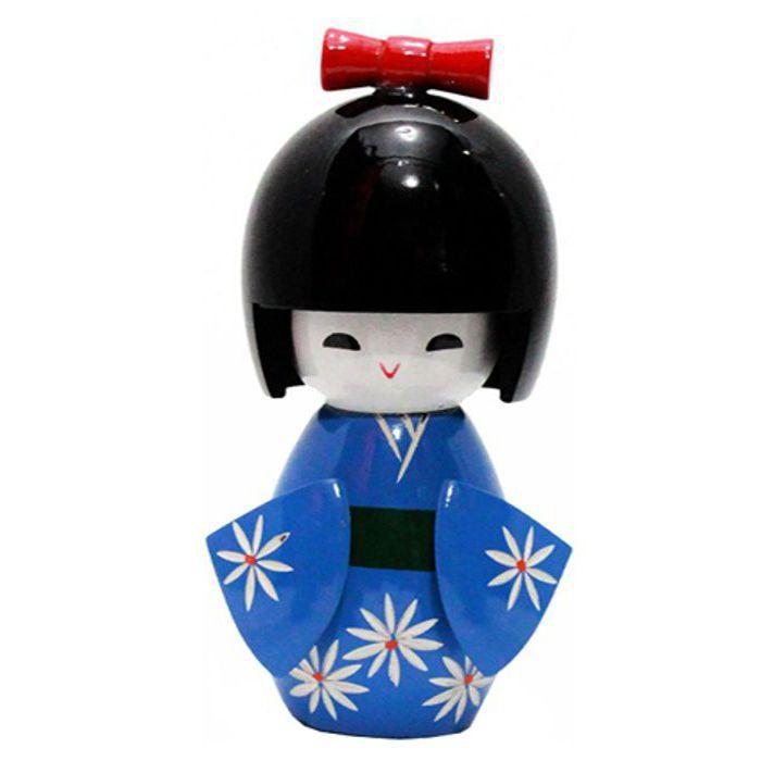 Kokeshi Laço G Azul 12 cm