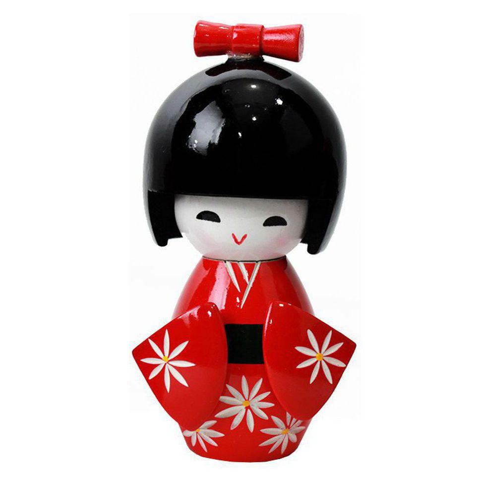 Kokeshi Laço G Vermelha 12 cm