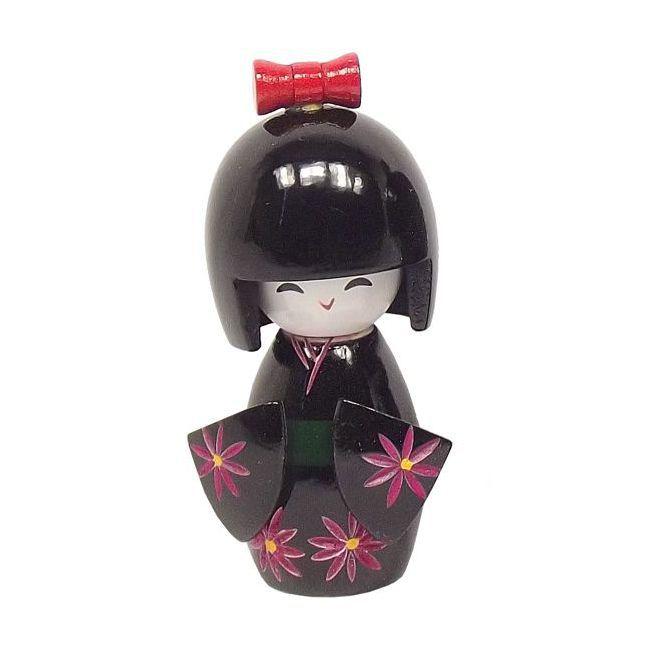 Kokeshi Laço M Preta 10 cm