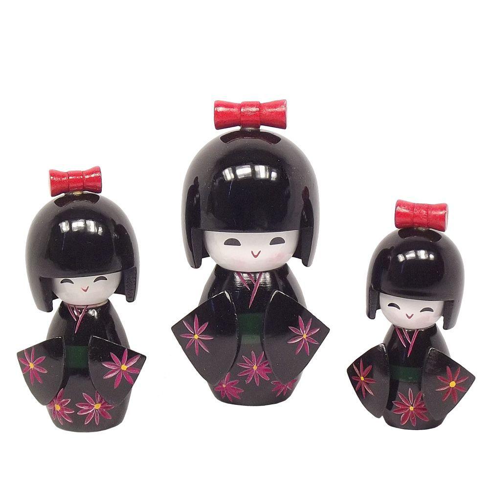 Kokeshi Trio Laço Preta