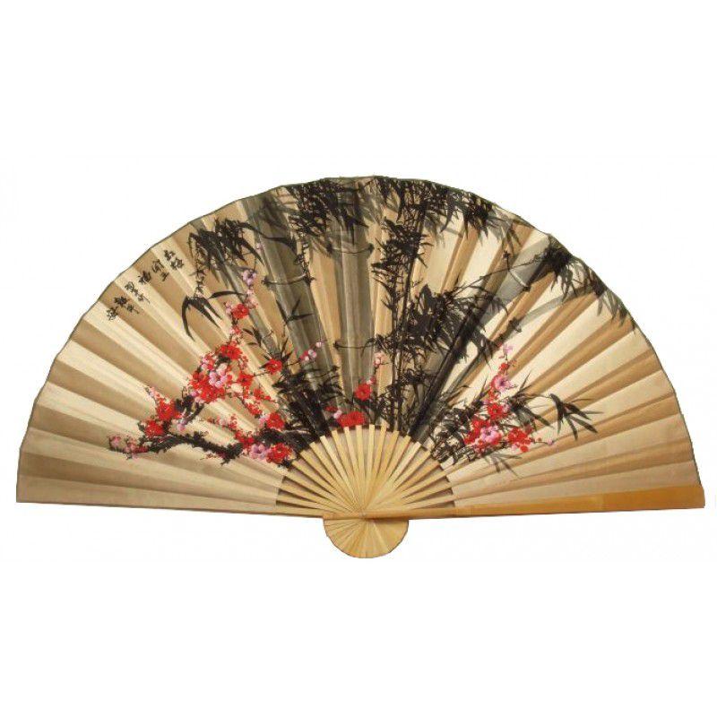 Leque de Parede 160 x 90 cm Bege / Bambu com Sakura