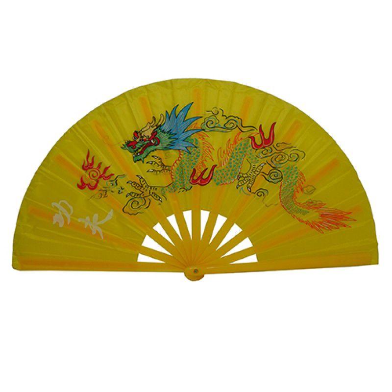 Leque Tai Chi Poliuretano Dragão Amarelo 34 x 63cm