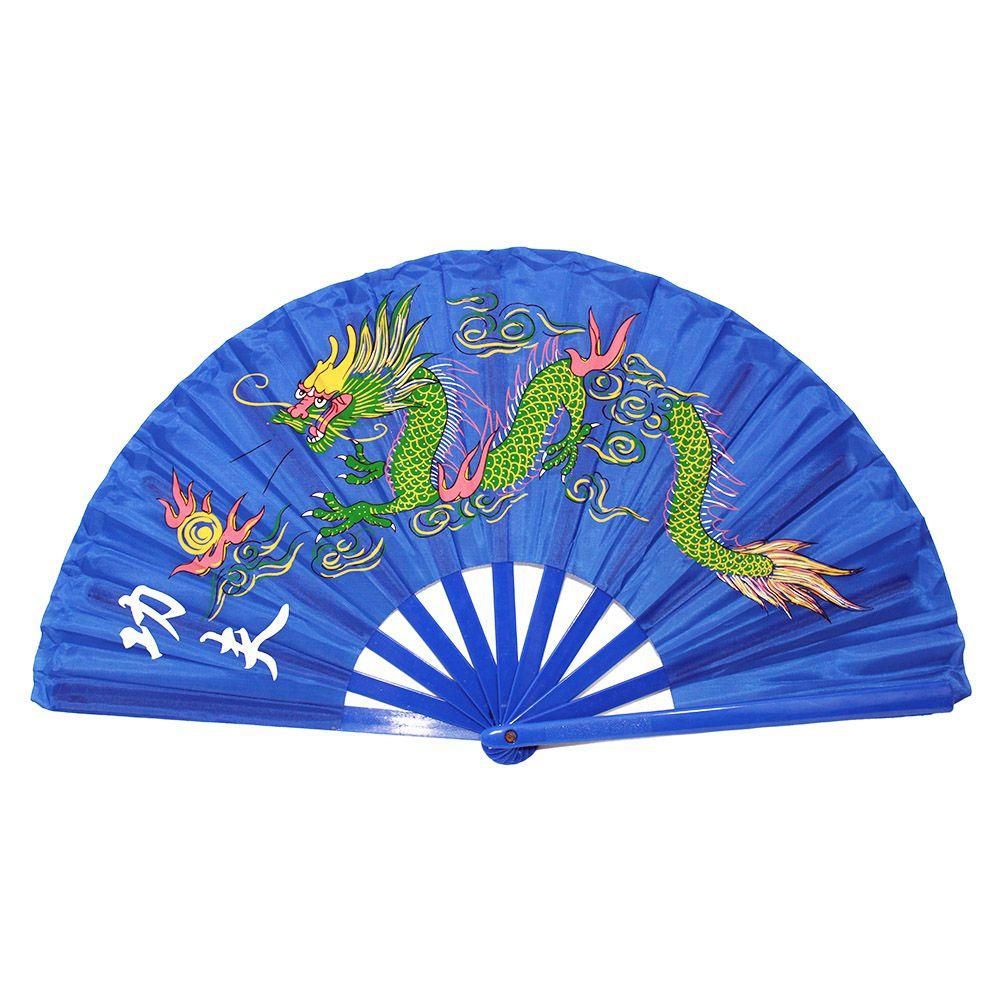 Leque Tai Chi Poliuretano Dragão Azul 34 cm