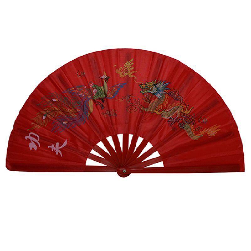 Leque Tai Chi Poliuretano Fênix e Dragão Vermelho 34 x 63 cm