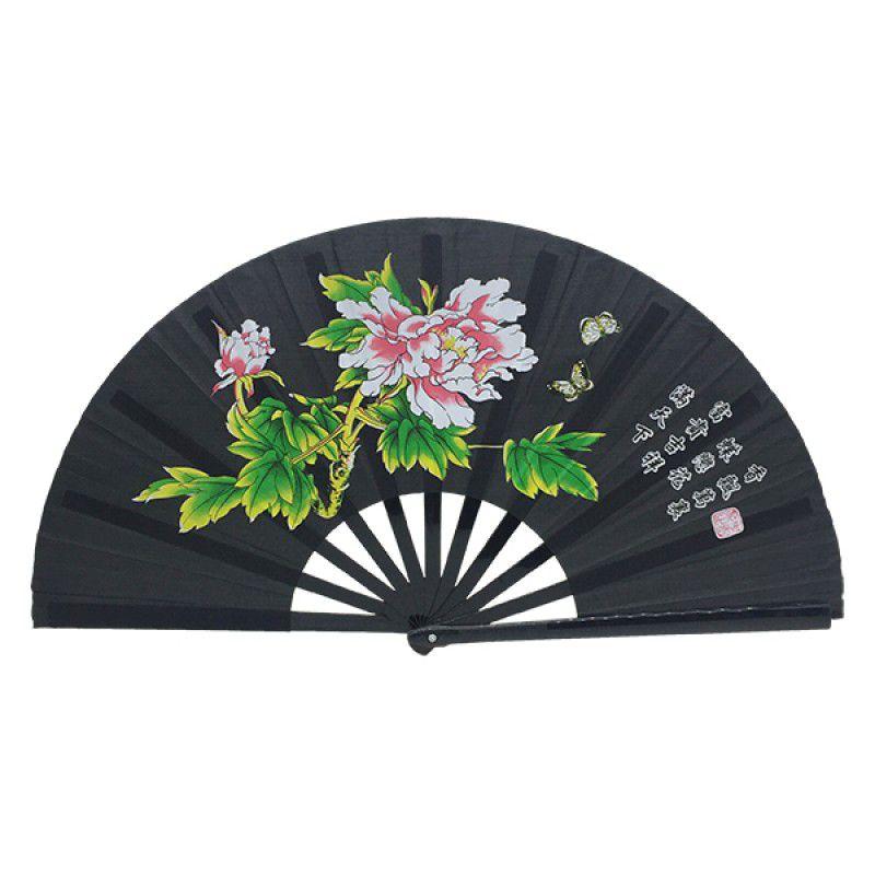 Leque Tai Chi Poliuretano Floral Peônia Preto 34 x 63 cm