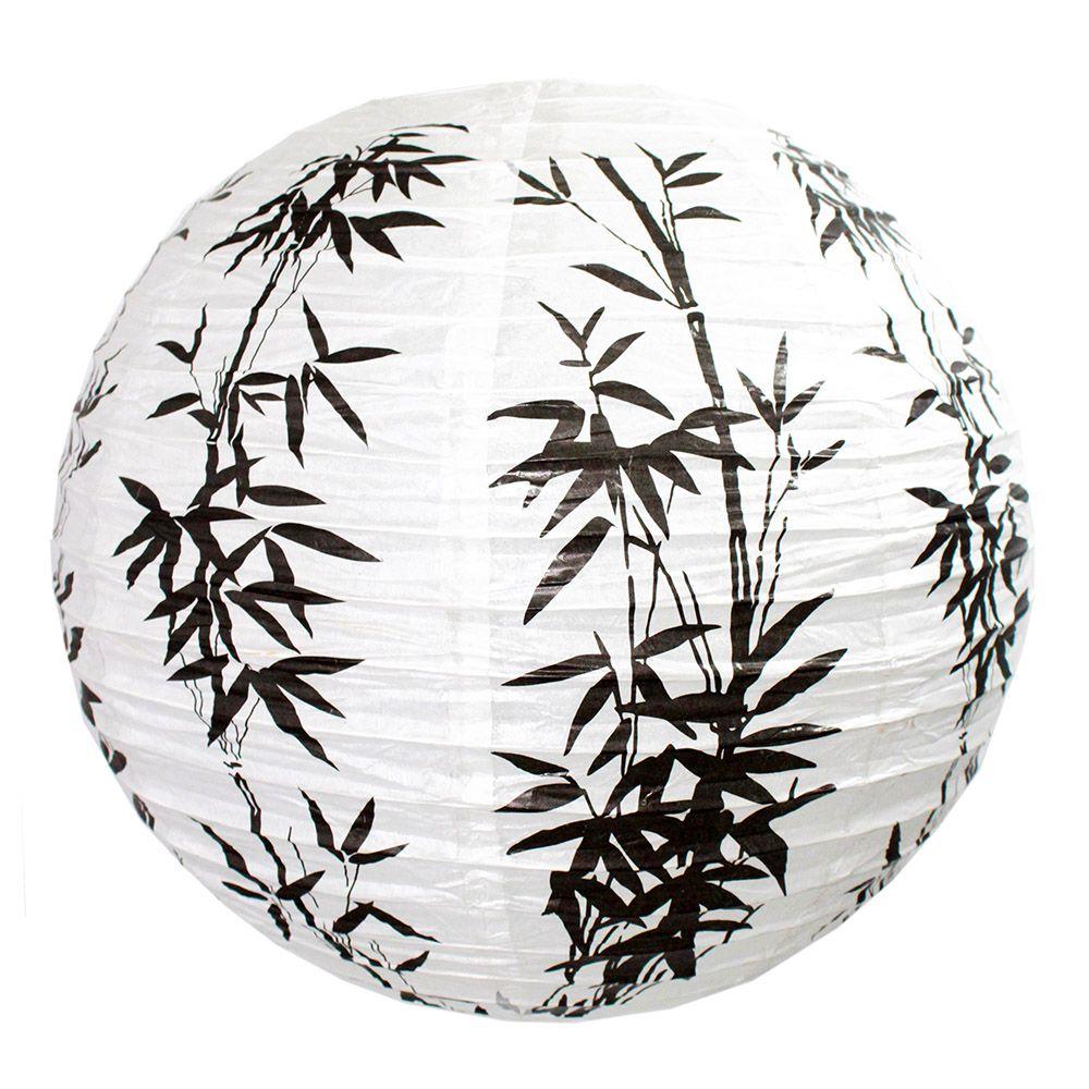Luminária Oriental Bambu Preto 40 cm