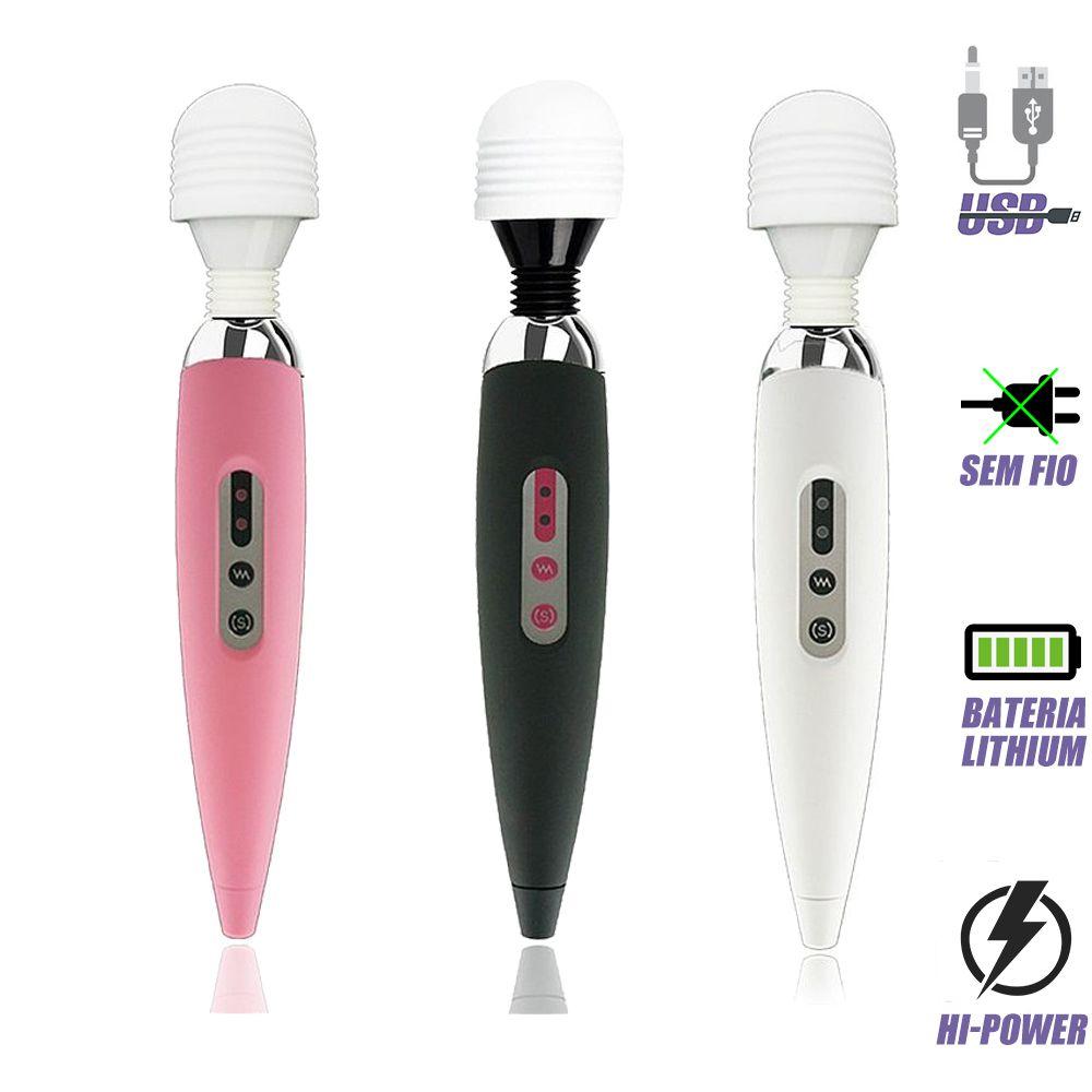 Massageador Terapêutico Magic Wand Rosa 26cm Recarregável Sem Fio c/ 12 vibrações / Via USB / Varinha Mágica / Alivia a tensão e dores musculares