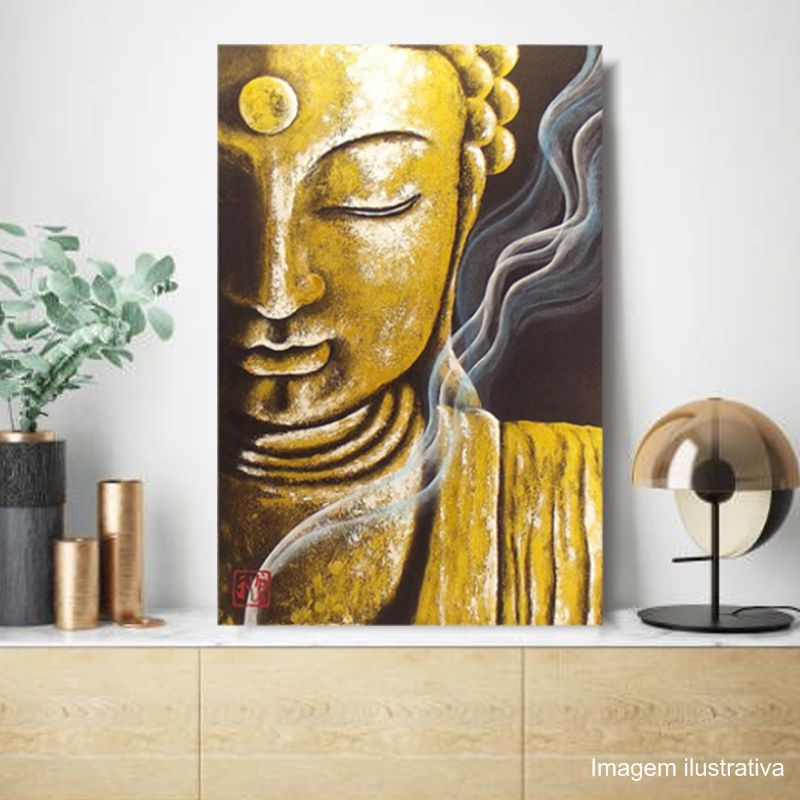 Quadro Buda Meditação Acrílico sobre tela Pintado à Mão 60 x 40 cm / Decoração Oriental, Arte, Estampa Japonesa, Pintura Artesanal