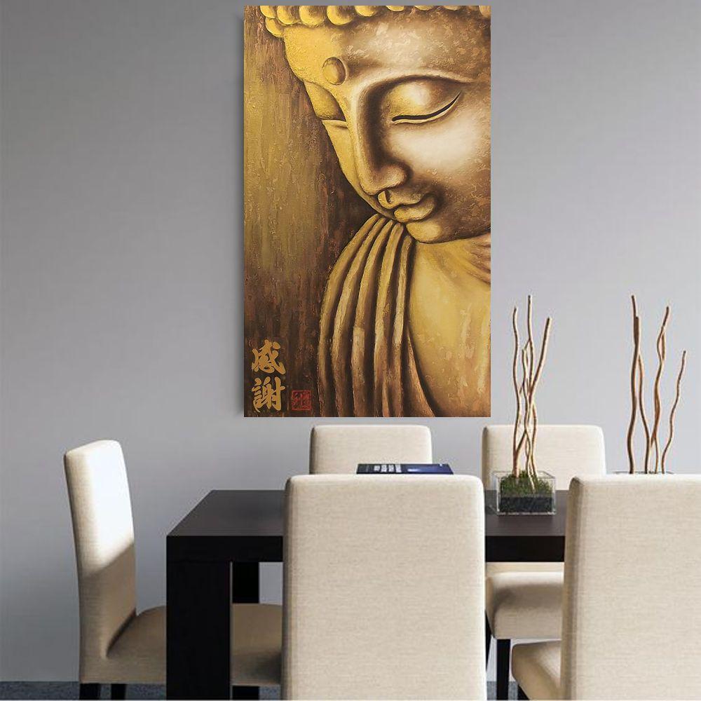 Quadro Buda Gratidão Acrílico sobre tela Pintado à Mão 100x60cm