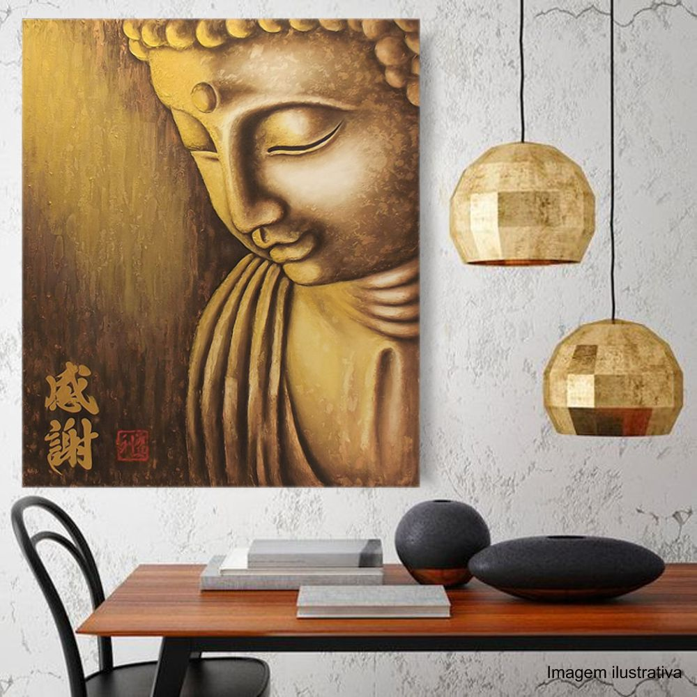 Quadro Buda Gratidão Acrílico sobre tela Pintado à Mão 100x90cm