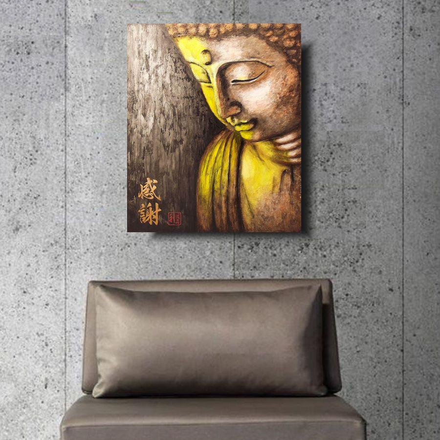 Quadro Buda Gratidão Acrílico sobre tela Pintado à Mão 50x40cm