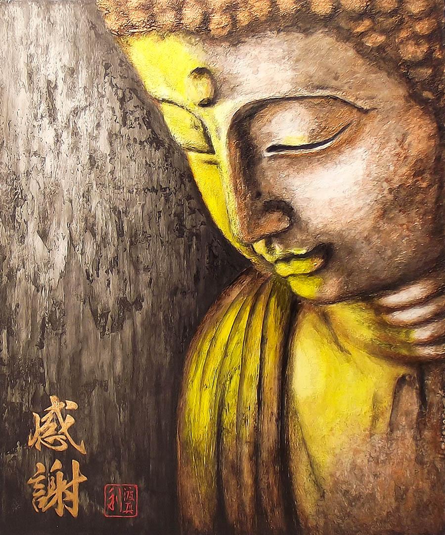 Quadro Buda Gratidão Acrílico sobre tela Pintado à Mão 50x40cm / Decoração Oriental, Arte, Estampa Japonesa