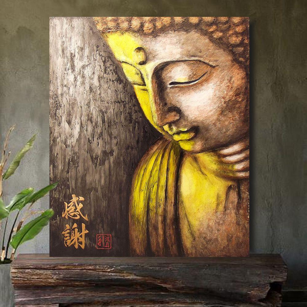 Quadro Buda Gratidão Acrílico sobre tela Pintado à Mão 60x50 cm / Zen, Feng Shui, Decoração Oriental, Arte, Estampa Japonesa, Pintura Artesanal