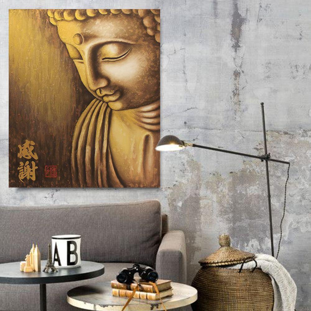 Quadro Buda Gratidão Acrílico sobre tela Pintado à Mão 80x70cm / Zen, Feng Shui, Decoração Oriental, Arte, Estampa Japonesa, Pintura Artesanal
