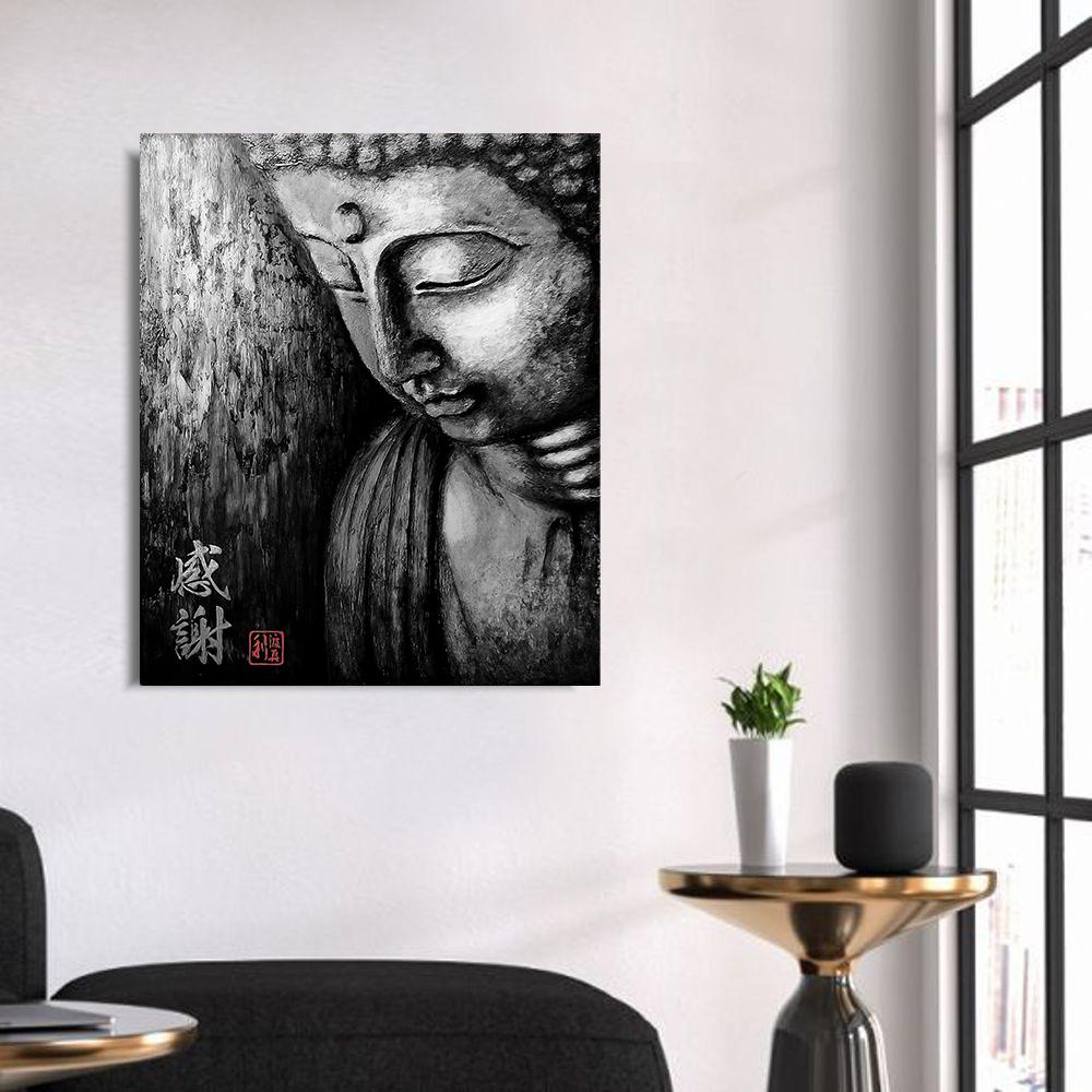 Quadro Buda Gratidão Black Acrílico sobre tela Pintado à Mão 100 x 80 cm / Feng Shui, Decoração Oriental, Arte, Estampa Japonesa, Pintura Artesanal
