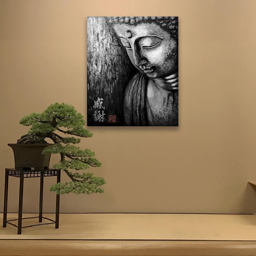 Quadro Buda Gratidão Black Acrílico sobre tela Pintado à Mão 60x50 cm / Zen, Feng Shui, Decoração Oriental, Arte, Estampa Japonesa, Pintura Artesanal