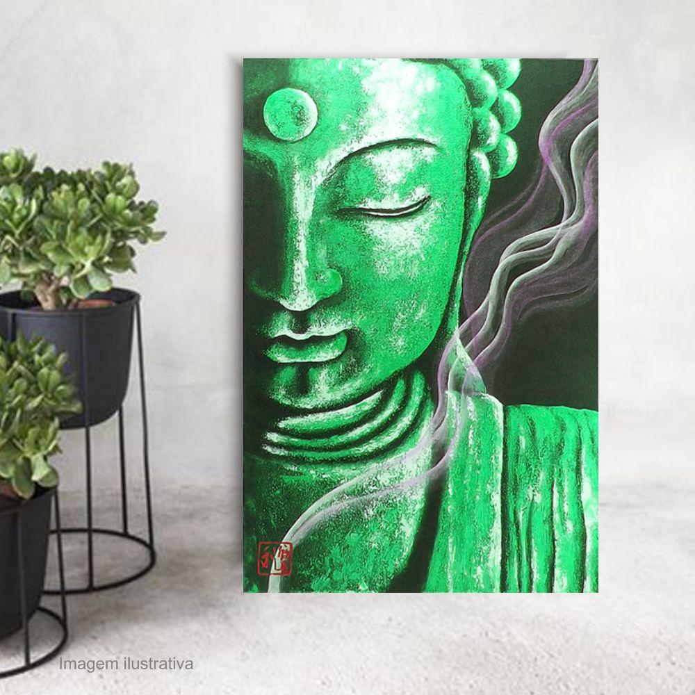 Quadro Buda Meditação Jade - Acrílico sobre tela Pintado à Mão 60 x 40 cm / Zen, Feng Shui, Decoração Oriental, Arte, Estampa Japonesa, Pintura Artesanal