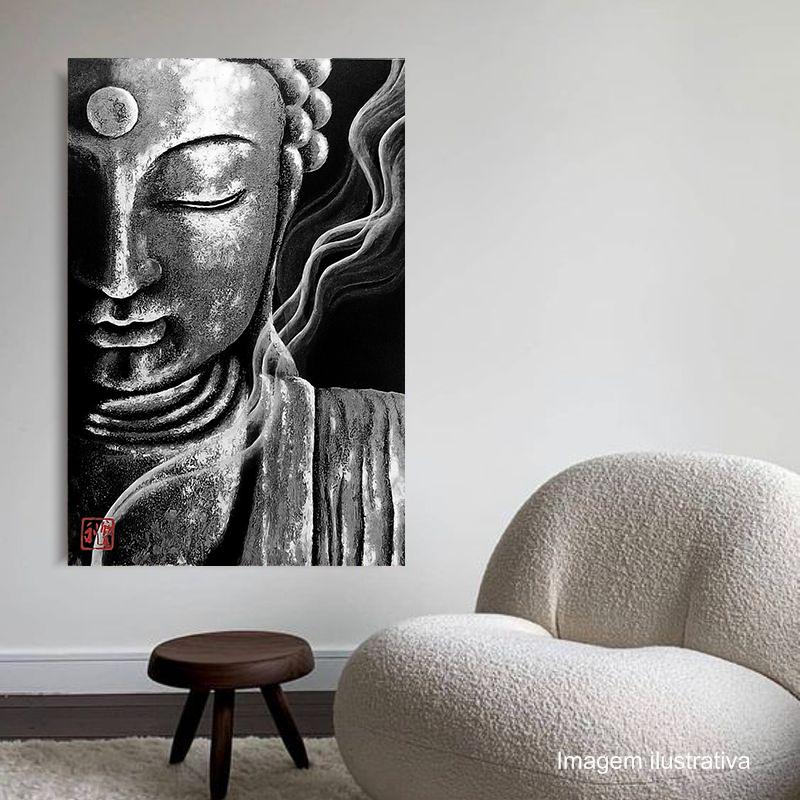 Quadro Buda Meditação Black Acrílico sobre tela Pintado à Mão 100 x 70 cm / Feng Shui, Decoração Oriental, Arte, Estampa Japonesa, Pintura Artesanal