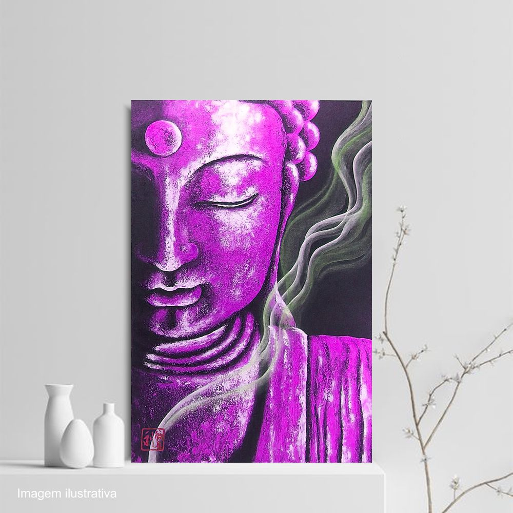 Quadro Buda Meditação Púrpura - Acrílico sobre tela Pintado à Mão 60 x 40 cm / Feng Shui, Decoração Oriental, Arte, Estampa Japonesa, Pintura Artesanal