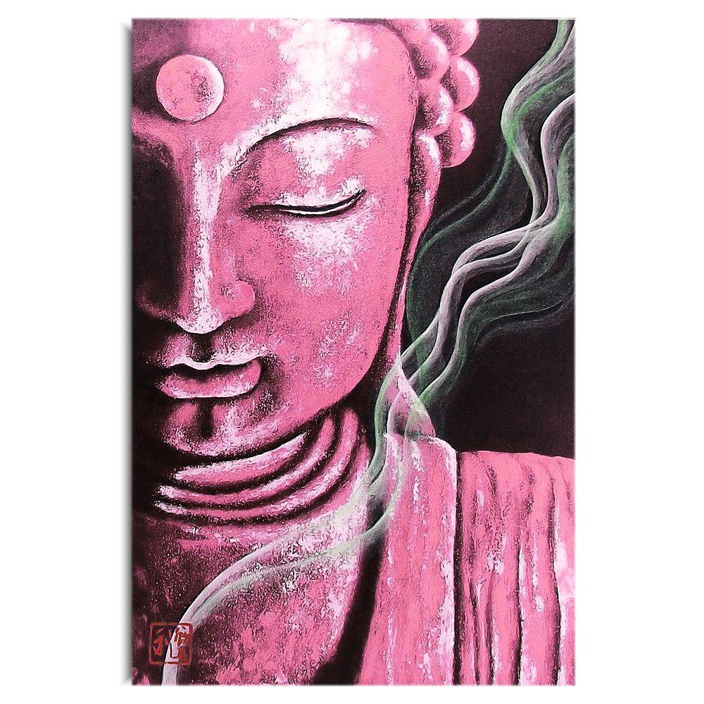 Quadro Buda Meditação Rosa Pink - Acrílico sobre tela Pintado à Mão 60 x 40 cm / Zen, Feng Shui, Decoração Oriental, Arte, Estampa Japonesa, Pintura Artesanal