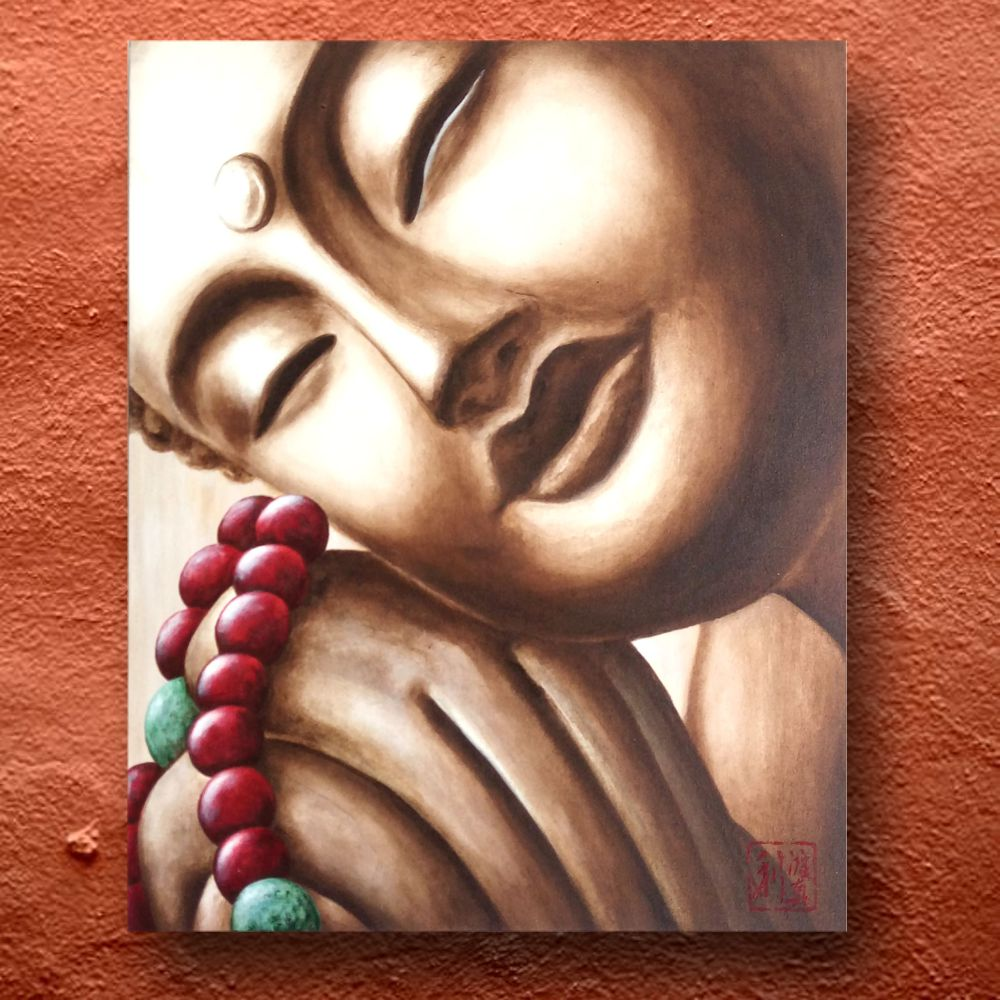 Quadro Buda Sépia Japamala Acrílico sobre tela Pintado à mão 50x40cm