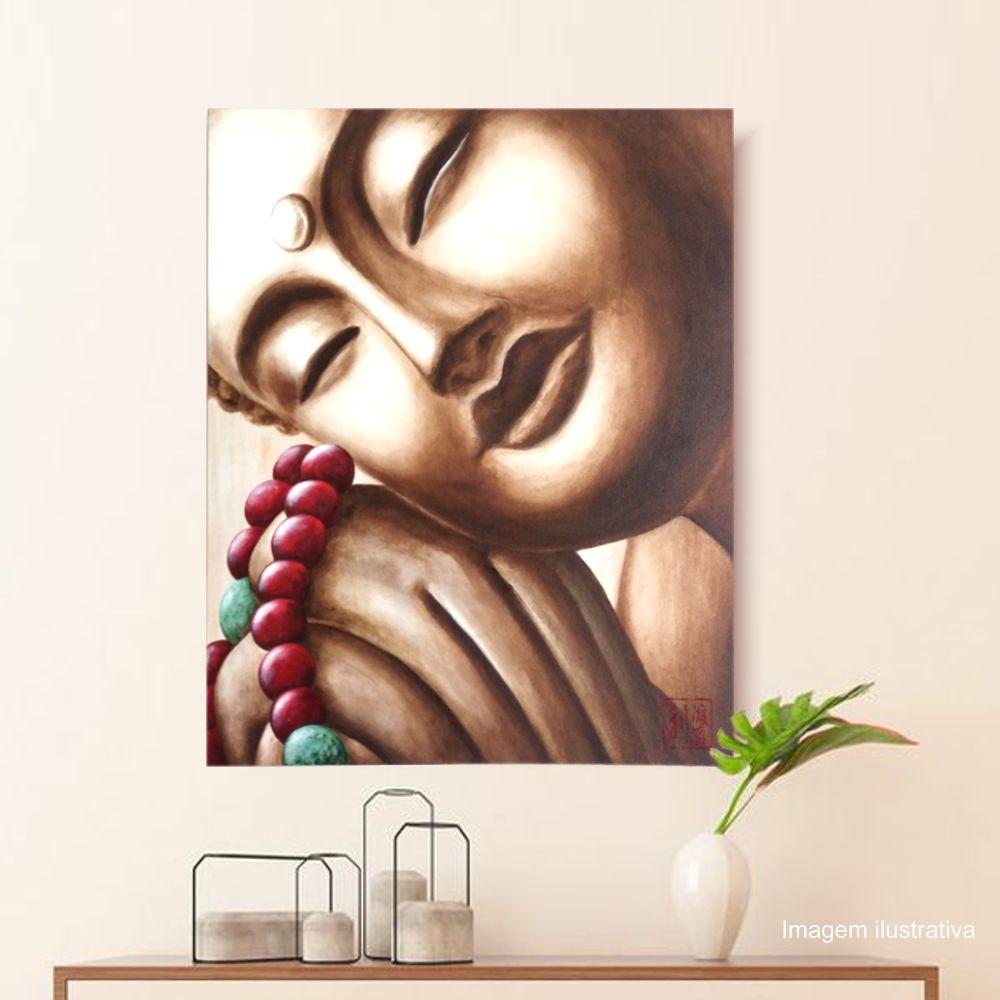 Quadro Buda Sépia Japamala Acrílico sobre tela Pintado à Mão 60x50cm / Zen, Feng Shui, Decoração Oriental, Arte, Estampa Japonesa, Pintura Artesanal